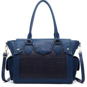 Lux Faux Leather Blue Satchel Large Crossbody